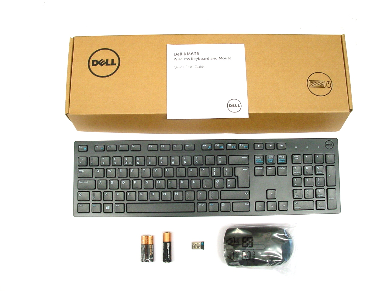 dell km636 wireless cordless keyboard and mouse set combo kit uk layout 580 adfz ebay. Black Bedroom Furniture Sets. Home Design Ideas